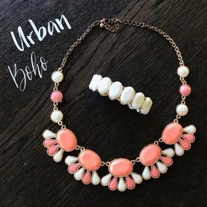 Coral ivory statement necklace and bracelet lot